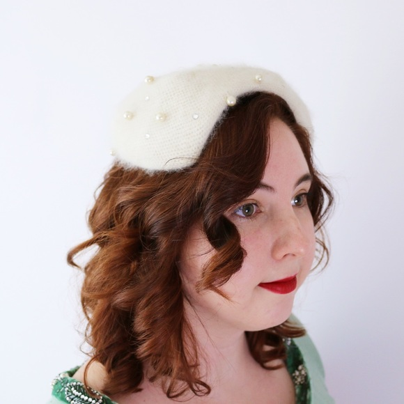 1950s Angora White Pearl Hat Head Piece Beret Cute